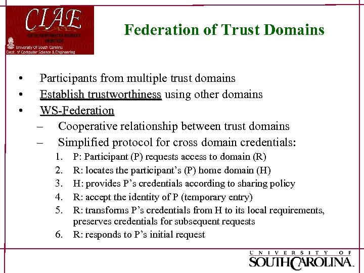 Federation of Trust Domains • • • Participants from multiple trust domains Establish trustworthiness