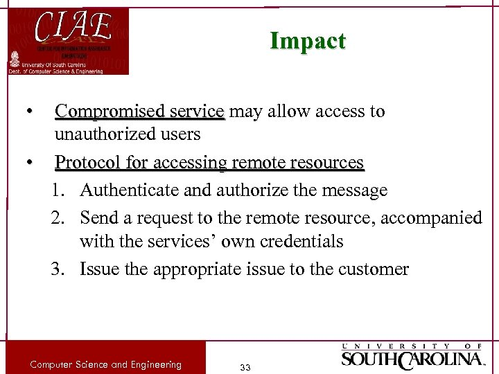 Impact • Compromised service may allow access to unauthorized users • Protocol for accessing