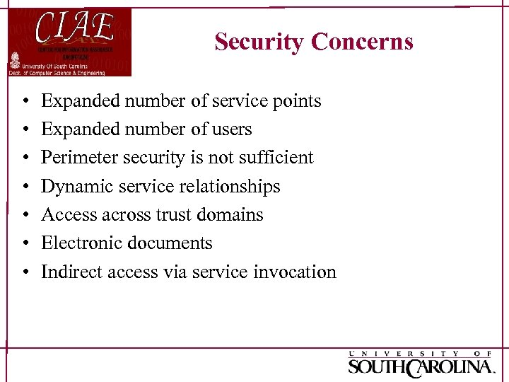 Security Concerns • • Expanded number of service points Expanded number of users Perimeter