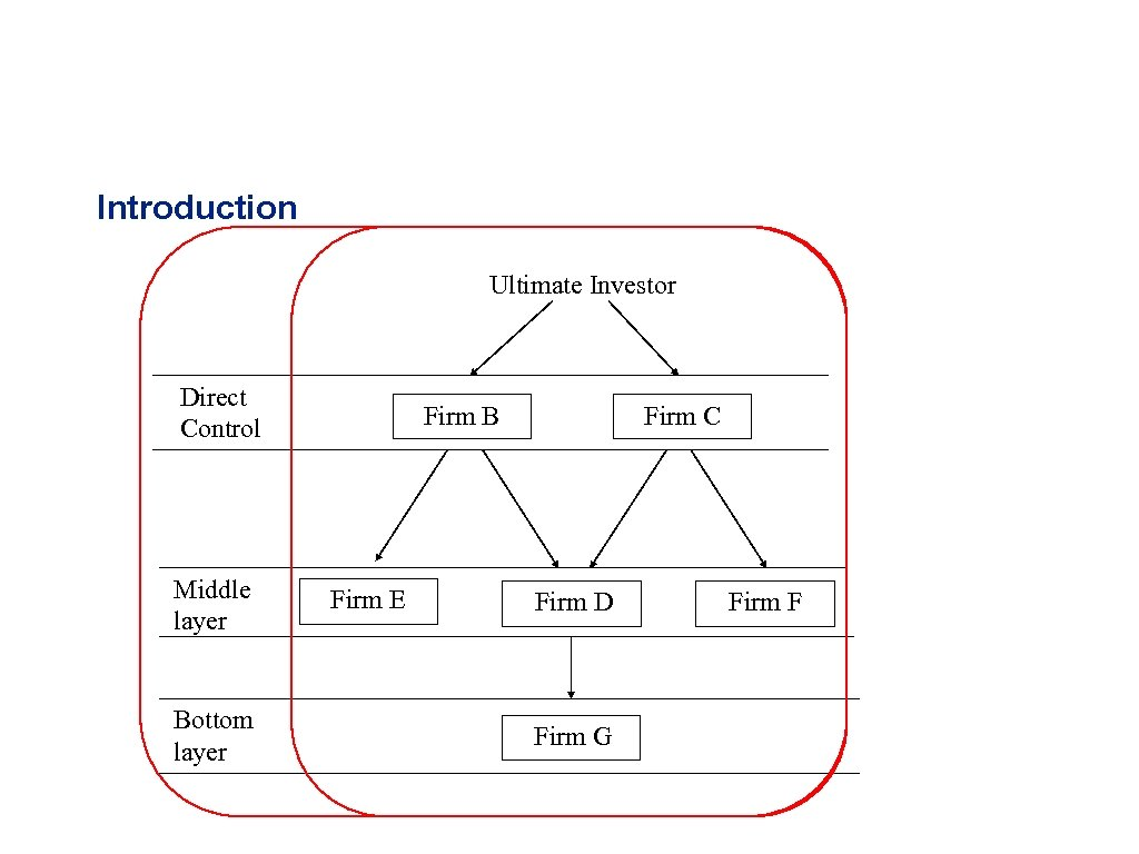 Introduction Ultimate Investor Direct Control Middle layer Bottom layer Firm B Firm E Firm