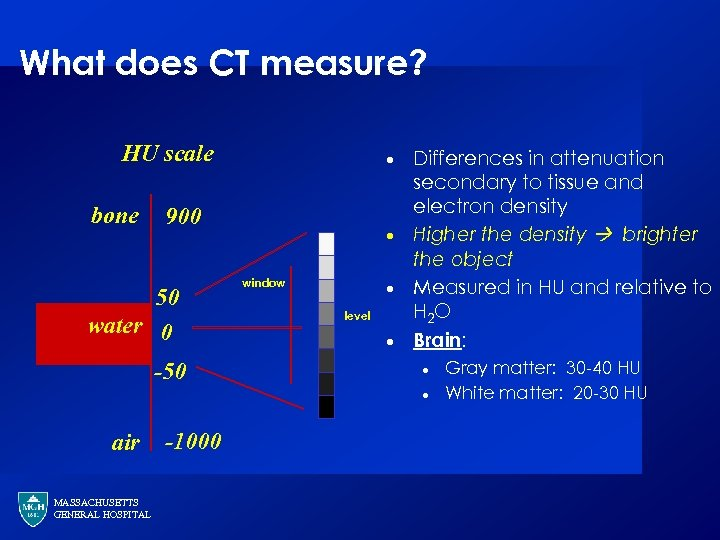 What does CT measure? HU scale bone · 900 50 water 0 -50 ·
