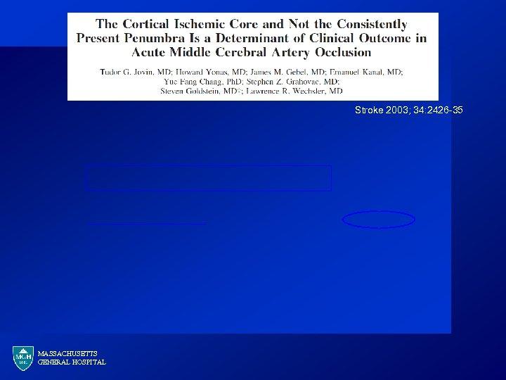 Stroke 2003; 34: 2426 -35 MASSACHUSETTS GENERAL HOSPITAL