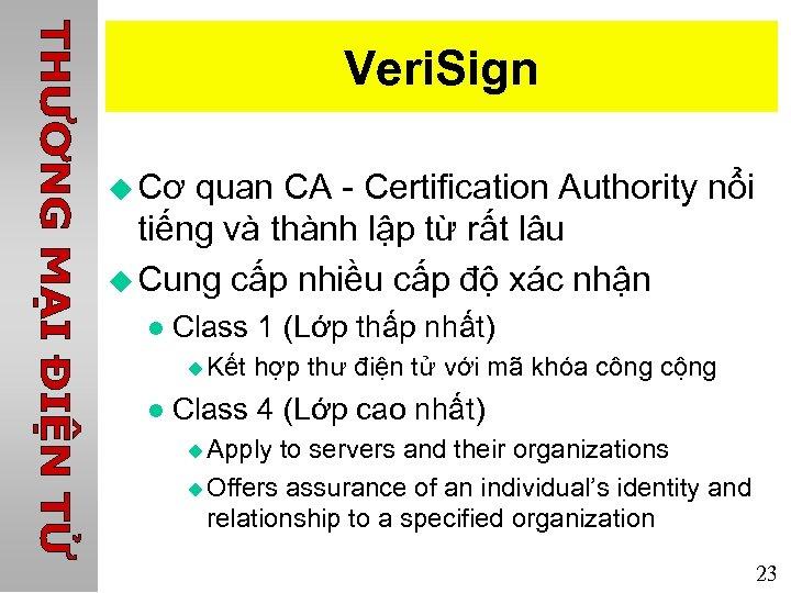 Veri. Sign u Cơ quan CA - Certification Authority nổi tiếng và thành lập
