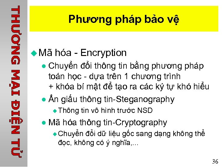Phương pháp bảo vệ u Mã hóa - Encryption Chuyển đổi thông tin bằng