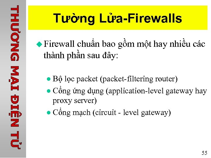 Tường Lửa-Firewalls u Firewall chuẩn bao gồm một hay nhiều các thành phần sau