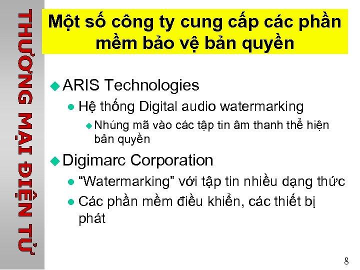 Một số công ty cung cấp các phần mềm bảo vệ bản quyền u