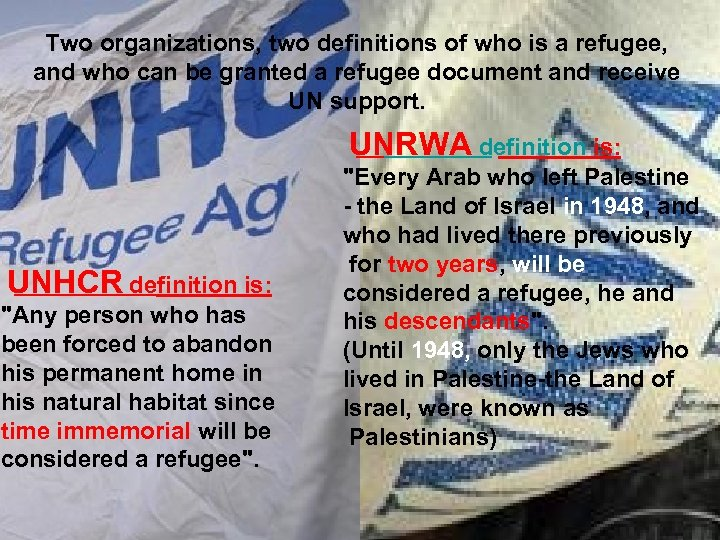 Two organizations, two definitions of who is a refugee, and who can be granted