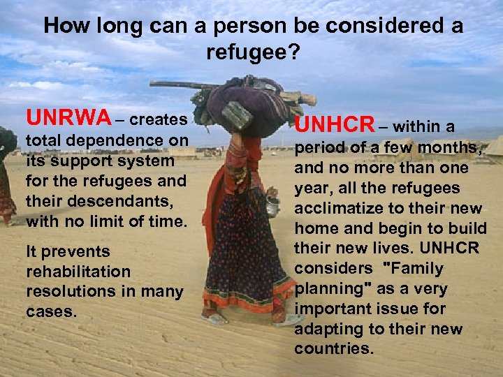 How long can a person be considered a refugee? UNRWA – creates total dependence