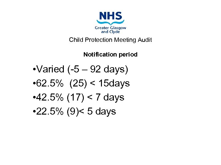 Child Protection Meeting Audit Notification period • Varied (-5 – 92 days) • 62.