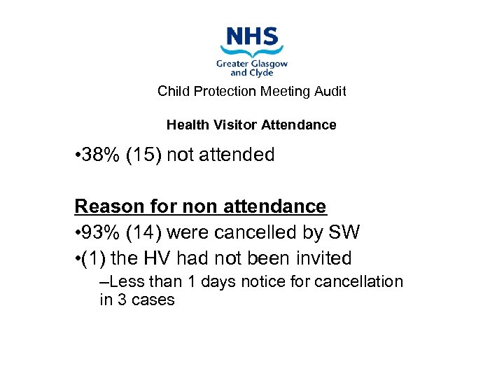 Child Protection Meeting Audit Health Visitor Attendance • 38% (15) not attended Reason for