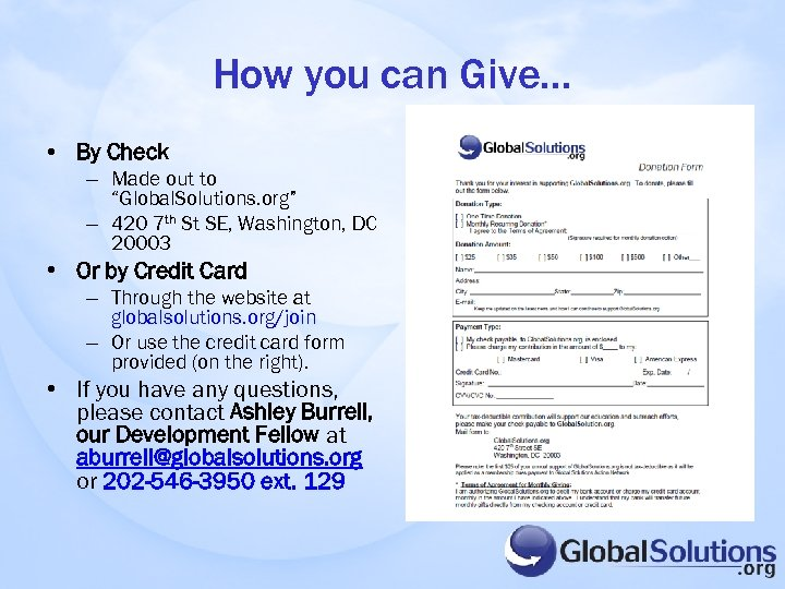 "How you can Give… • By Check – Made out to ""Global. Solutions. org"""