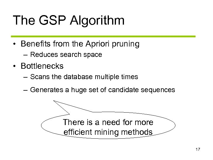 The GSP Algorithm • Benefits from the Apriori pruning – Reduces search space •