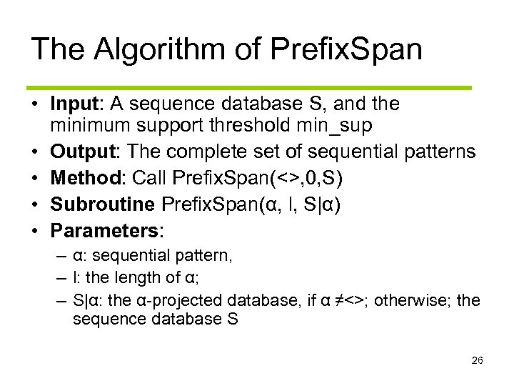 The Algorithm of Prefix. Span • Input: A sequence database S, and the minimum