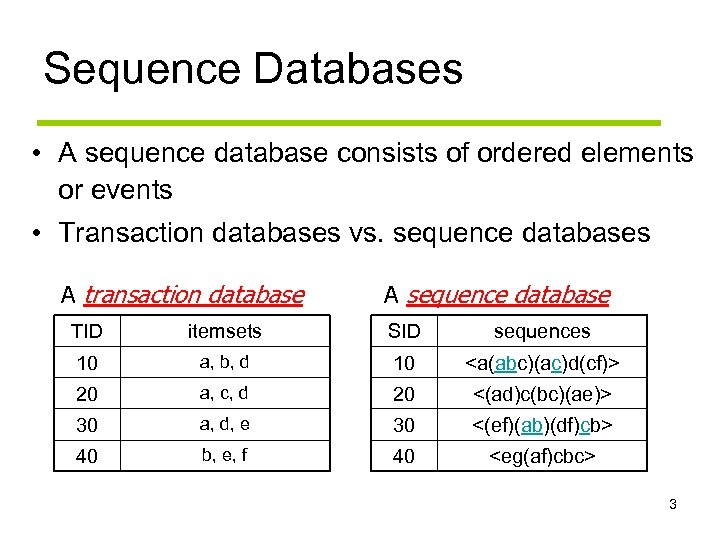 Sequence Databases • A sequence database consists of ordered elements or events • Transaction