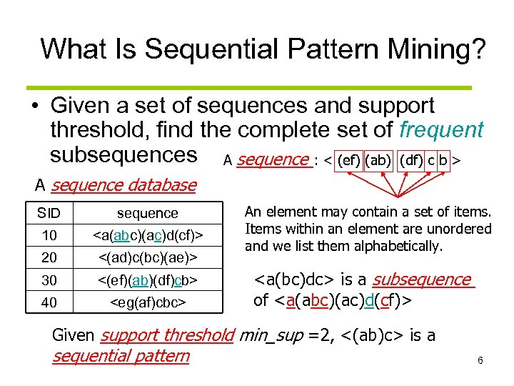What Is Sequential Pattern Mining? • Given a set of sequences and support threshold,