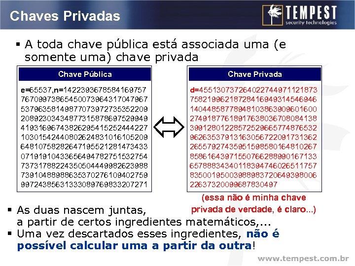 Chaves Privadas § A toda chave pública está associada uma (e somente uma) chave