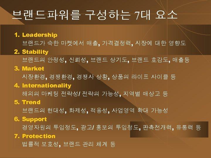 브랜드파워를 구성하는 7대 요소 1. Leadership 브랜드가 속한 마켓에서 매출, 가격결정력, 시장에 대한 영향도