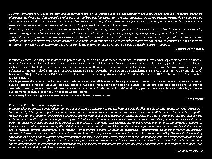 Zulema Petruschansky utiliza un lenguaje contemporáneo en un contrapunto de abstracción y realidad, donde