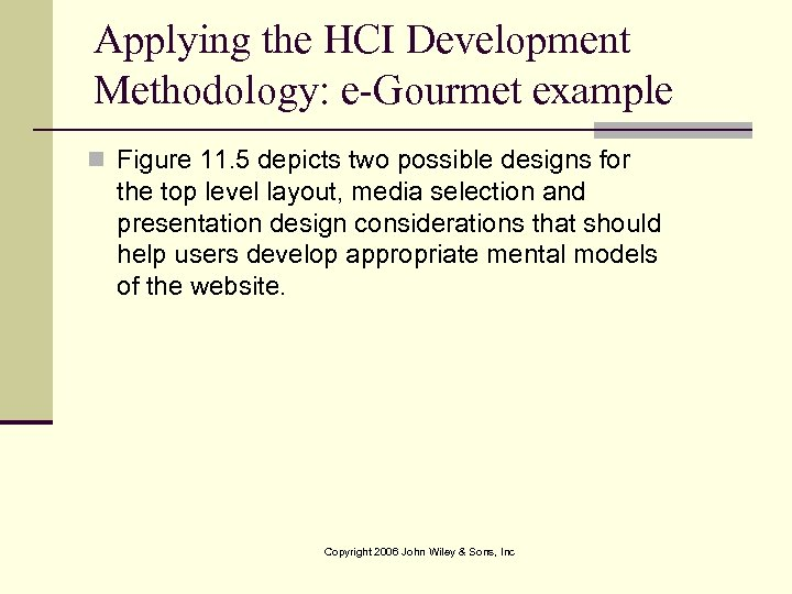Applying the HCI Development Methodology: e-Gourmet example n Figure 11. 5 depicts two possible