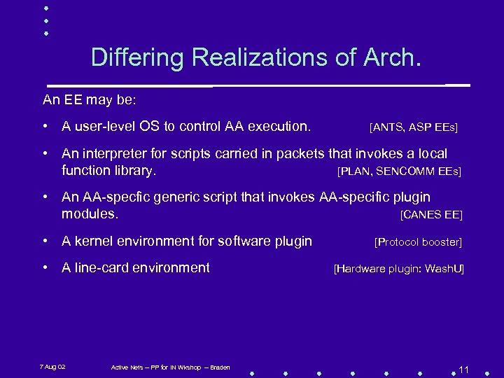 Differing Realizations of Arch. An EE may be: • A user-level OS to control