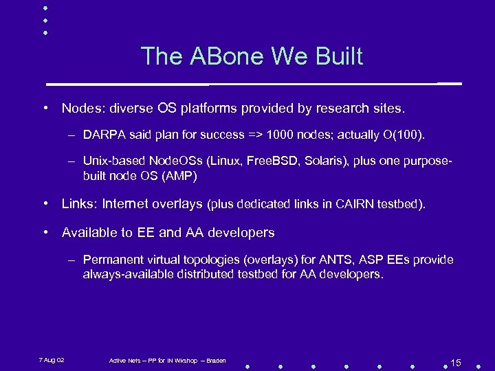 The ABone We Built • Nodes: diverse OS platforms provided by research sites. –