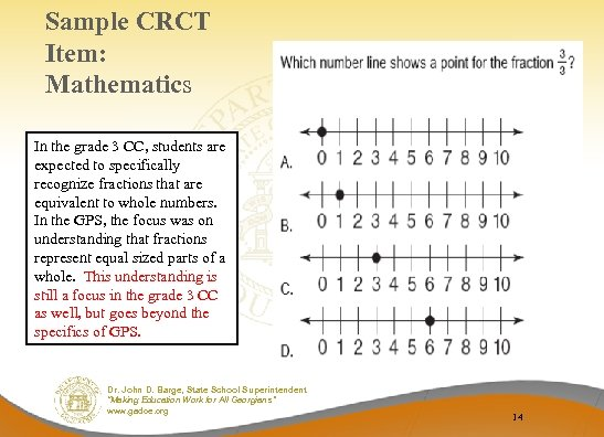 Sample CRCT Item: Mathematics In the grade 3 CC, students are expected to specifically