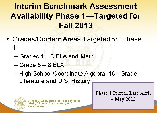 Interim Benchmark Assessment Availability Phase 1—Targeted for Fall 2013 • Grades/Content Areas Targeted for