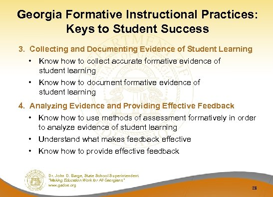 Georgia Formative Instructional Practices: Keys to Student Success 3. Collecting and Documenting Evidence of