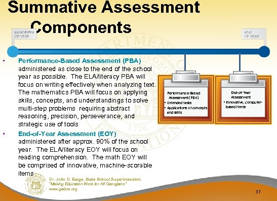 Summative Assessment Components • • Performance-Based Assessment (PBA) administered as close to the end