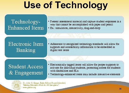 Use of Technology. Enhanced Items • Present assessment material and capture student responses in
