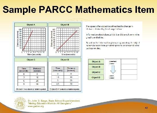 "Sample PARCC Mathematics Item Dr. John D. Barge, State School Superintendent ""Making Education Work"