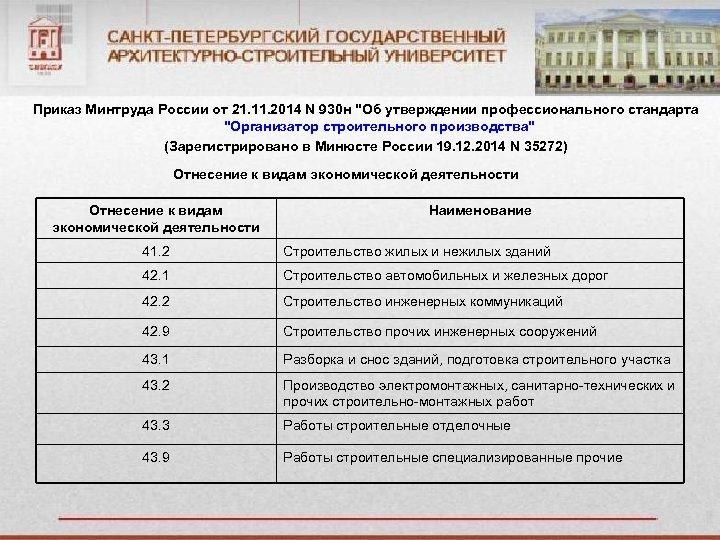 Приказ Минтруда России от 21. 11. 2014 N 930 н