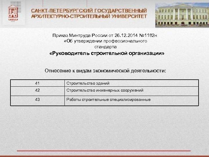 Приказ Минтруда России от 26. 12. 2014 № 1182 н «Об утверждении профессионального стандарта