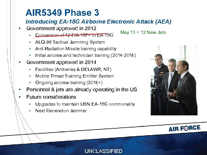 AIR 5349 Phase 3 Introducing EA-18 G Airborne Electronic Attack (AEA) • Government approved