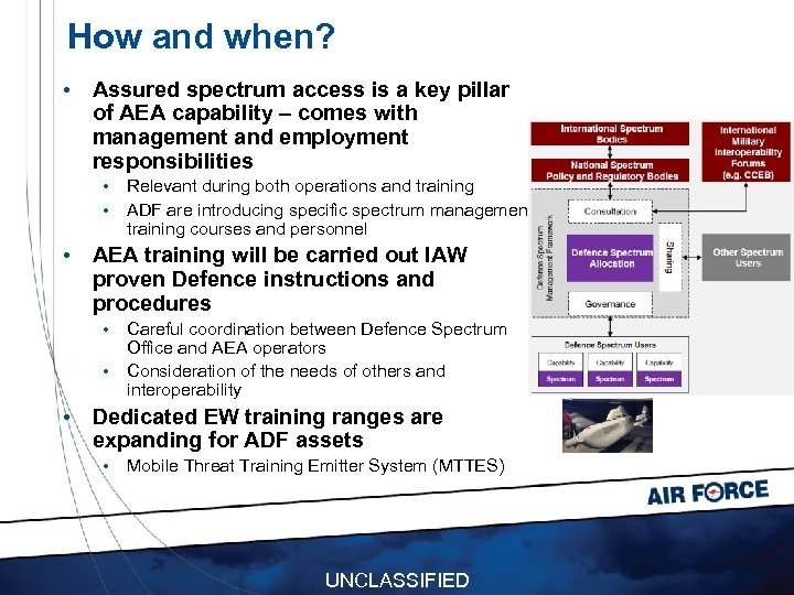 How and when? • Assured spectrum access is a key pillar of AEA capability