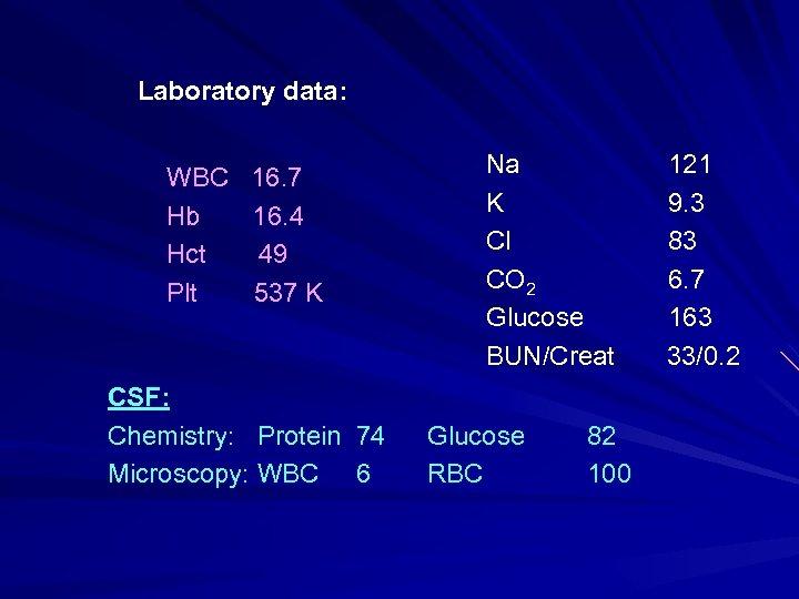 Laboratory data: WBC 16. 7 Hb 16. 4 Hct 49 Plt 537 K Na