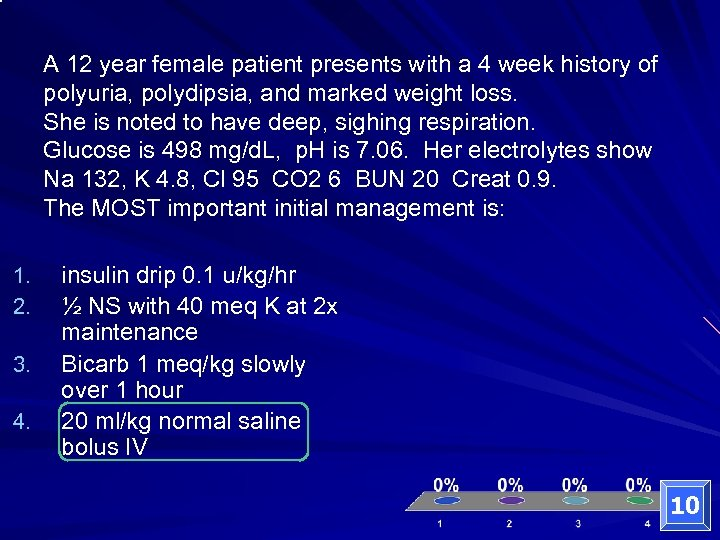 A 12 year female patient presents with a 4 week history of polyuria, polydipsia,