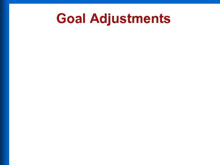Goal Adjustments