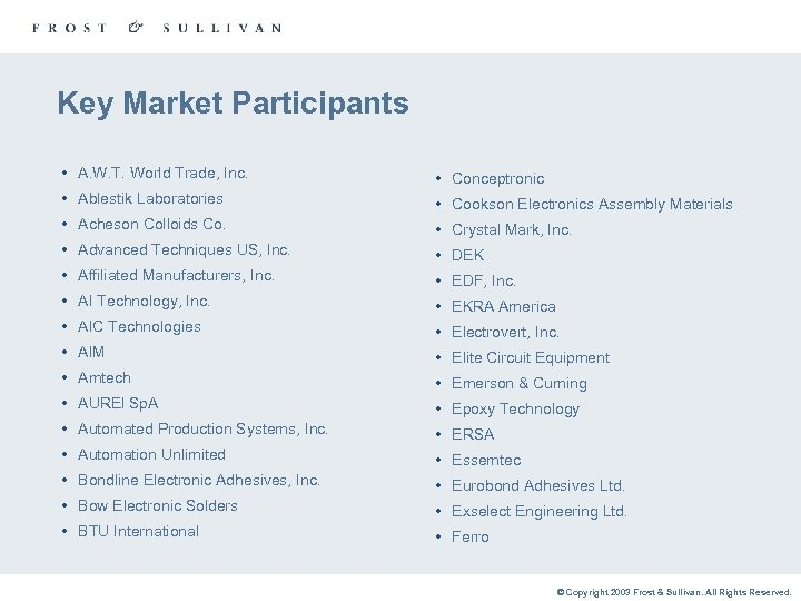 Key Market Participants • A. W. T. World Trade, Inc. • Conceptronic • Ablestik