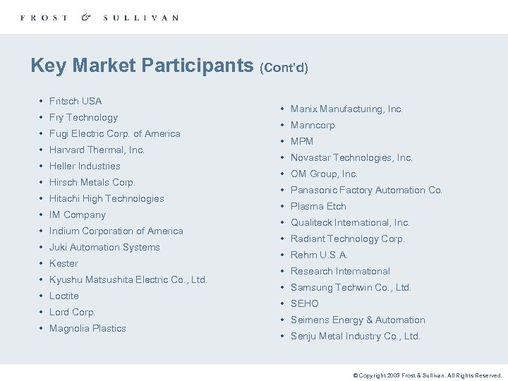 Key Market Participants (Cont'd) • Fritsch USA • Fry Technology • Fugi Electric Corp.