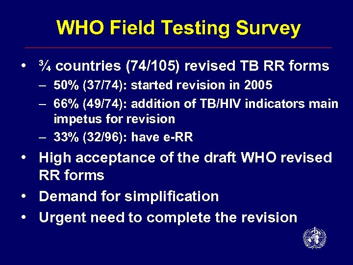 WHO Field Testing Survey • ¾ countries (74/105) revised TB RR forms – 50%