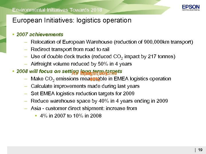 Environmental Initiatives Towards 2018 European Initiatives: logistics operation • 2007 achievements – Relocation of