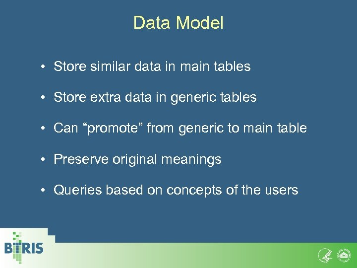 Data Model • Store similar data in main tables • Store extra data in