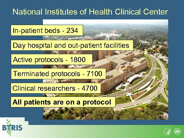 National Institutes of Health Clinical Center In-patient beds - 234 Day hospital and out-patient