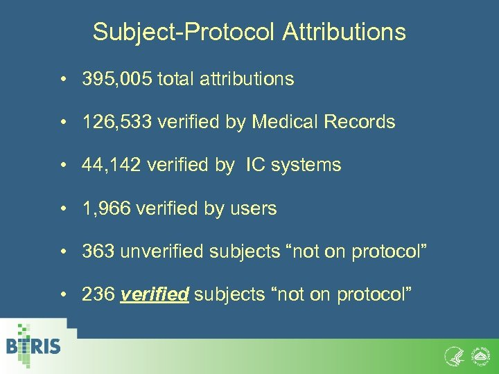 Subject-Protocol Attributions • 395, 005 total attributions • 126, 533 verified by Medical Records