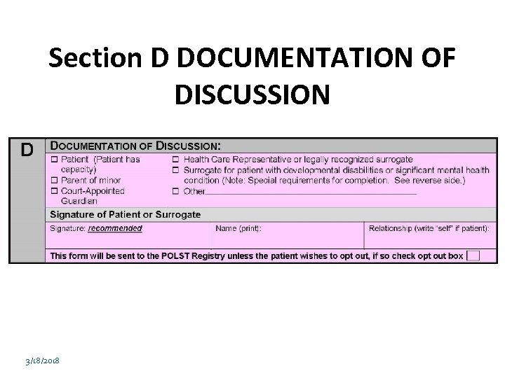 Section D DOCUMENTATION OF DISCUSSION 3/18/2018