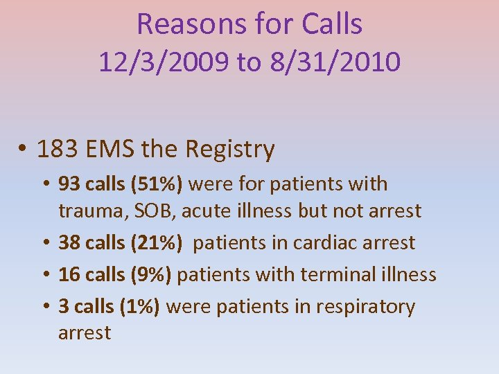 Reasons for Calls 12/3/2009 to 8/31/2010 • 183 EMS the Registry • 93 calls