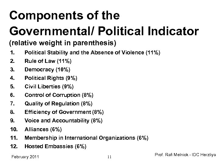 Components of the Governmental/ Political Indicator (relative weight in parenthesis) 1. Political Stability and