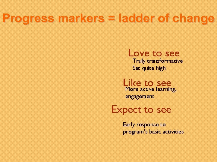 Progress markers = ladder of change Love to see Truly transformative Set quite high