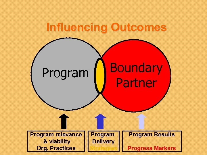 Influencing Outcomes Program relevance & viability Org. Practices Boundary Partner Program Delivery Strategies Program